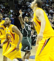 Michigan State's Korie Lucious watches his game-winning, buzzer-beating 3-point shot to beat Maryland in the second round of the 2010 NCAA tournament.