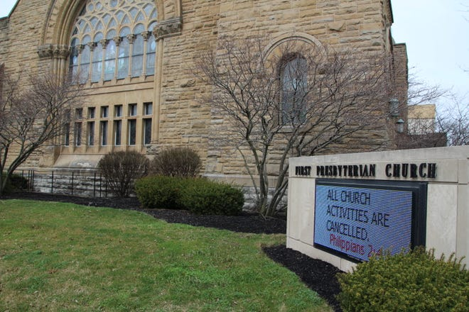 First Presbyterian Church in downtown Marion is one of many local churches that has canceled all activities as a result of the coronavirus outbreak in Ohio. Some churches, however, are still hosting services, although on a limited basis.