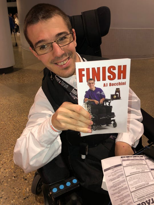 AJ Bocchini, an usher at Fiserv Forum, wrote a book about his life journey, from his diagnosis of cerebral palsy to team manager of UW-Whitewater's basketball team