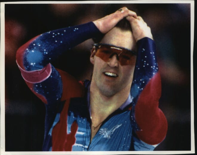 Speedskater Dan Jansen reacts to his world record 1,000-meter race in the 1994 Olympics.