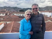 Mary Myers and Daryl Carrington of Minocqua are shown on the rooftop of the hotel they're staying at in Cusco, Peru. The married couple are stuck in Peru, unable to get a flight out. The country has imposed a quarantine and a curfew and has restricted travel. The two were on a camping trip in the Andes when they got the word at 2 a.m. that they needed to get off the mountain.