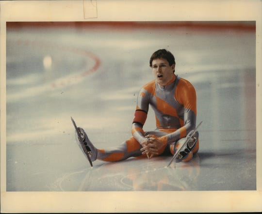 Dan Jansen sits on the ice after falling during the men's 1,000 meters at the 1988 Winter Olympics in Calgary. He was competing just after learning of the death of his sister Jane.