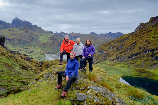 Mary Myers (seated) and Daryl Carrington of Minocqua (standing at left) are shown with friends Laurie Churchman (gray coat) and Allyson Katzman of Philadelphia along the Lares Trek in the Peruvian Andes. The photo was taken before the group got word that Peru had declared a national emergency because of the coronavirus and they needed to descend immediately.