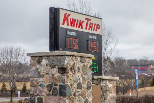 The Kwik Trip at 2101 S Moorland Rd in New Berlin was charging $1.79 for regular unleaded gas Friday morning. The state average is $1.91.