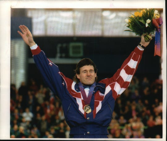 Dan Jansen fights off tears as he enjoys a gold-medal moment in Hamar, Norway in 1994.