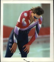 Dan Jansen reacts after finishing the 1,000  in Albertville, France. Jansen placed 26th, extending a string of Olympic frustration.