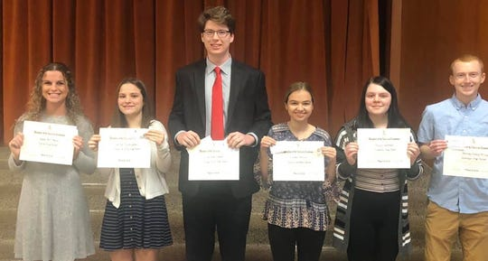 Delaware County recipients of the 2019-2020 DAR Good Citizen Award are pictured.