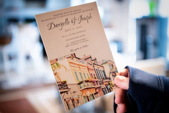 An invitation for the now-canceled wedding of Joe Levickis and Danyelle Valentine.