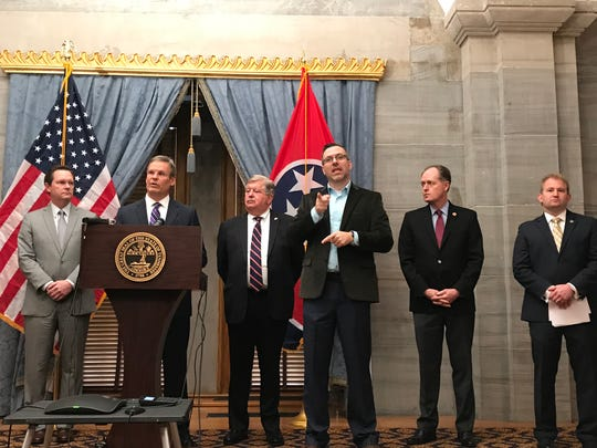 Gov. Bill Lee and Republican leaders address reporters on Friday, March 20, 2020, while reflecting on the recently recessed legislative session.