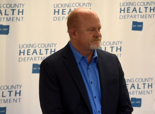 Licking County Health Commissioner Joe Ebel addresses the media during a press conference on Friday, March 20, 2020. The Licking County Health Department said the first confirmed case of coronavirus has been found in the county. The patient is a 27-year-old who was tested at the Licking Memorial Health Systems testing center.
