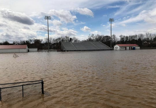 Flooding on Friday, March 20, 2020 at White Field in Newark.