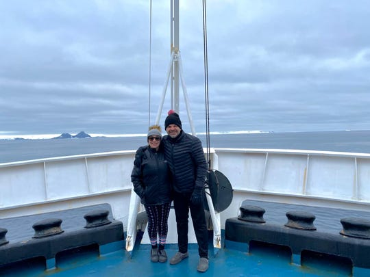 Laura and Gregg Arst on the Ocean Endeavor expedition ship, which was later put in mandatory quarantine off the coast of Argentina.