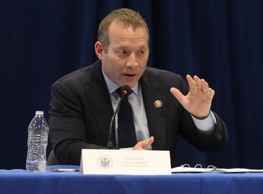 Congressman Josh Gottheimer during the daily briefing by Governor Phil Murphy and members of his staff discussing the corona virus. The meeting was held at bBergen Community College in Paramus, NJ on March 20, 2020.