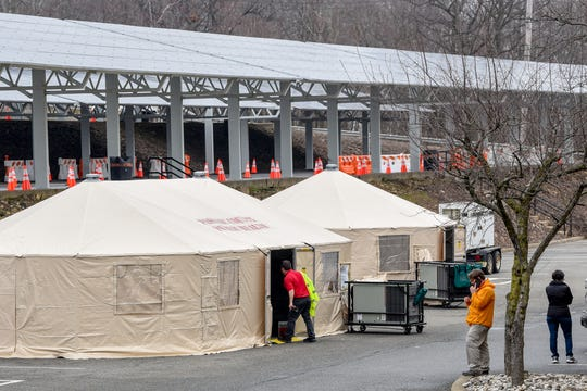 William Paterson University in Wayne, NJ starts setting up for coronavirus testing on Friday March 20, 2020. Coronavirus testing will begin at the university next week.