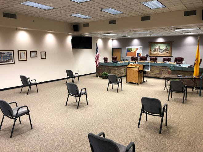 The San Juan County Commission room has been set up to limit the spread of the coronavirus, however members of the public are being asked to watch the meeting rather than attend in person.