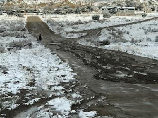Muddy and snow-packed roads in the Nageezi area on March 19 hampered efforts to get prepackaged meals to the district's students.