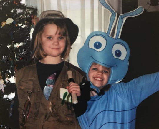 Being at home is a great excuse to exercise some creativity. This is my little sister Emily (right) and I dressing up like Halloween was in December.