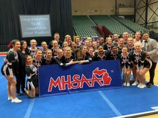 The Plymouth cheer team placed second at states.