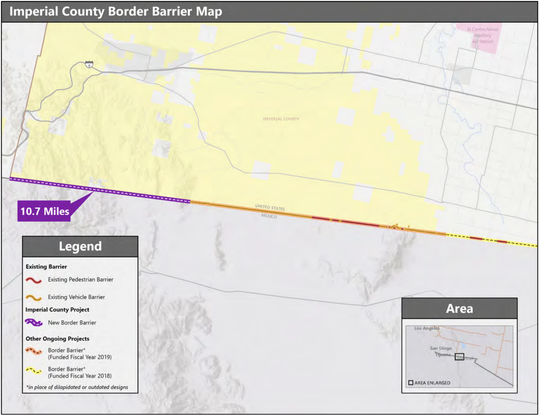 A map from CBP shows where new border fence construction is planned for Imperial County.