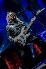 David Ellefson of Megadeth performing live.