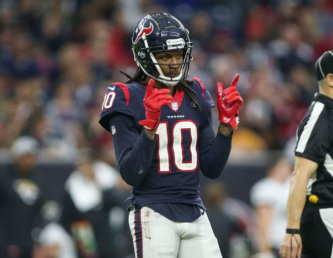 Wide receiver DeAndre Hopkins (10) was traded to the Arizona Cardinals in the offseason.