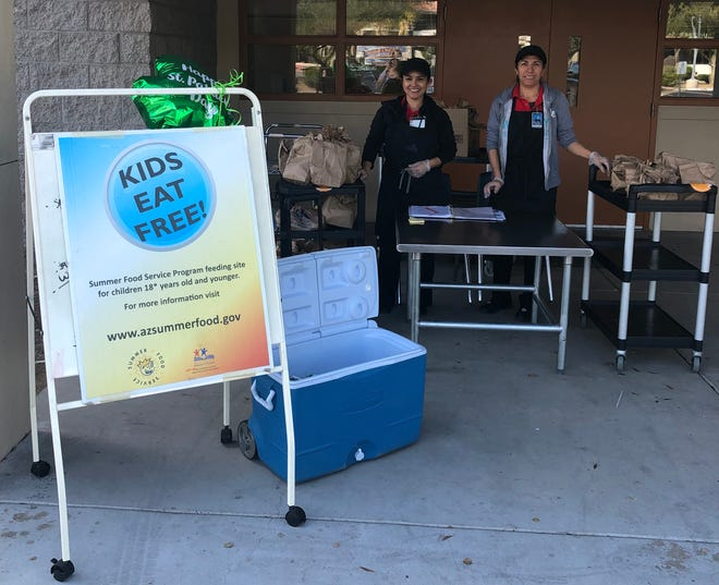 Food service workers in Pendergast Elementary School District distributed more than 16,000 meals to children 18 and under during the first week of school closures.