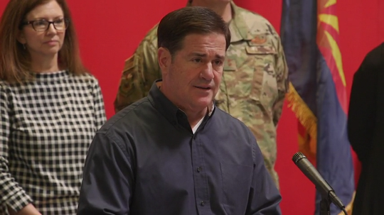 Gov. Doug Ducey held a press conference at St. Mary's Food Bank addressing the current COVID-19 situation in Arizona