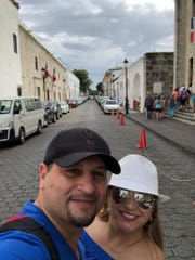 Laura Madrid took a selfie with her husband Juan on the streets of Santo Domingo, Dominican Republic, on Feb. 12, 2020.