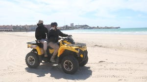 Officers clear beaches in Puerto Peñasco after the mayor ordered the closure of them starting on March 19, 2020, over concerns about the new coronavirus.