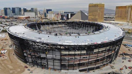 Fotografía aérea del Allegiant Stadium que será la nueva casa de los Raiders en Las Vegas, Nevada.