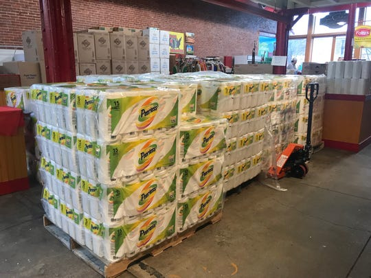 Dozens of packs of paper towels are available at the Lebanon Farmer's Market.