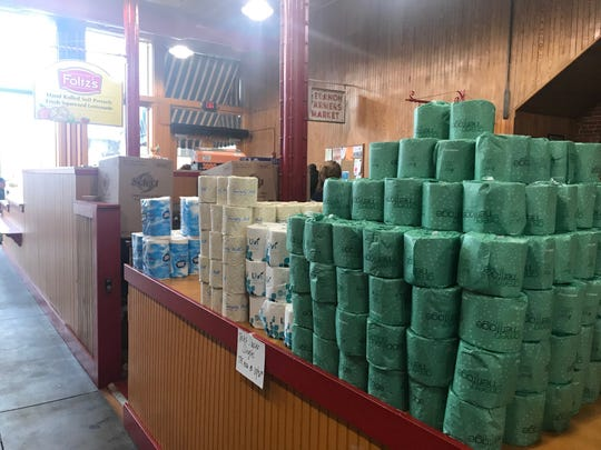 Rolls of toilet paper at the Lebanon Farmer's Market.