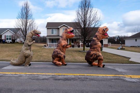 Three T-Rexes take a walk.