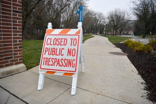 Signs block the entrances to York College, Thursday, March 19, 2020.John A. Pavoncello photo