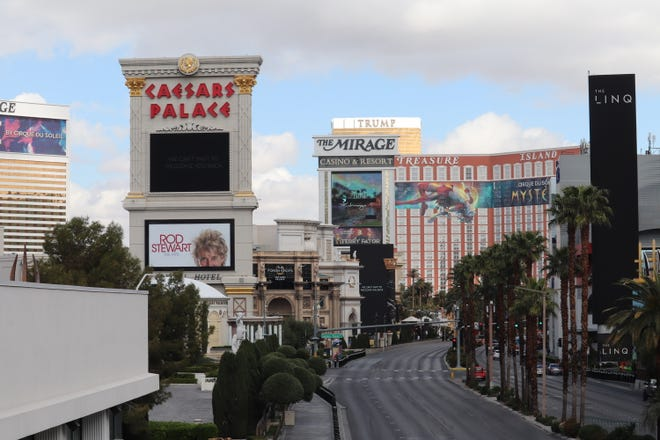 After the statewide shutdown of Nevada casinos to stem the spread of COVID-19, the Las Vegas Strip sat empty on March 20, 2020.