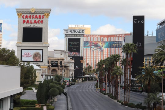 The Las Vegas Strip is empty on March 20, 2020.