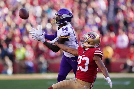 Stefon Diggs of the Minnesota Vikings makes a catch for a 41-yard touchdown against the San Francisco 49ers in the first quarter of the NFC Divisional Round Playoff game at Levi's Stadium on January 11, 2020 in Santa Clara, California. DIggs was traded to the Buffalo Bills this week.