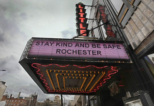 The Little Theatre, at 240 East Ave. in downtown Rochester, displays a message of hope and support on their sign Friday, March 20, 2020. The Little, like all area movie theaters, is closed due to the coronavirus outbreak.