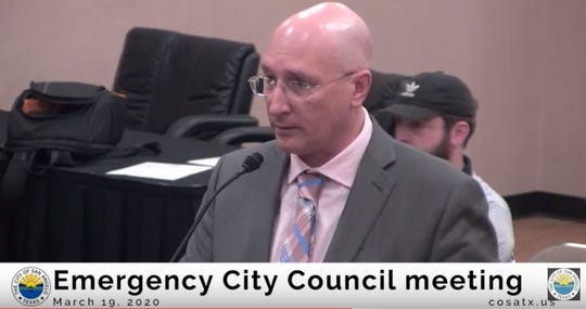 San Angelo Chamber of Commerce Vice President Michael Looney addresses the City Council during an emergency COVID-19 meeting Thursday, March 19, at the McNease Convention Center. The Chamber developed a COVID-19 Resource Hub which is available at www.sanangelo.org, with links to help advised businesses and individuals impacted by the current pandemic.