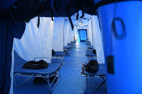 PRMC had a new portable, inflatablehospital fully erected Friday, March 20, 2020, just outside of its emergency department in Salisbury. As the medical center gears up for possible surge amid spread of the disease COVID-19, this now-precautionary measure will add 20 beds to its capacity.
