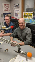 The show must go on for radio hosts John Gaskins (right) and Craig Mattick.