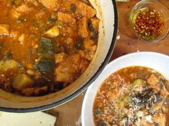 Sanaa's Gourmet: Tuscan vegetable, bean and bread soup by  Sanaa Abourezk