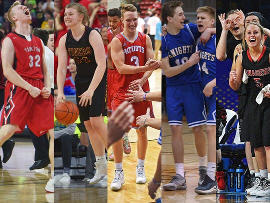 L-R: Yankton's Matthew Mors in 2018, Harrisburg's Sydney Halling in 2018, Lincoln's Carson Coulter in 2017, O'Gorman's Jack Cartwright and Luke Ronsiek in 2019, Vermillion Tanagers in 2017.
