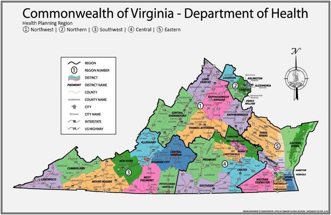 Map of Virginia's Health Planning Regions and Health Districts