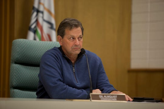 Washington County Commissioner Gil Almquist comments during an emergency session to declare a local state of emergency Friday, March 20, 2020.