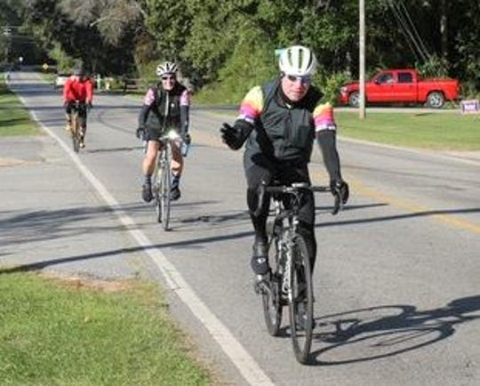 Members of Capital City Cyclists partake in the 2019 Spaghetti 100.