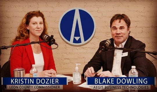 County Commissioner Kristin Dozier and Blake Dowling on March 10, 2020, on the Aegis Biz and Tech Podcast.