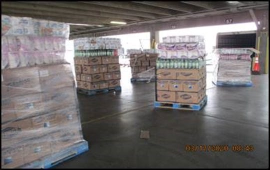 U.S. Customs and Border Protection officers discovered bottles labeled as cleaning products actually contained water during an inspection Monday, March 13, 2020, at the Bridge of the Americas.