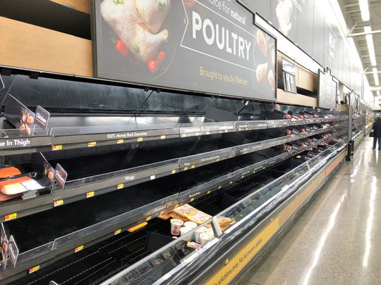 The meat section was wiped out at the Cielo Vista-area Walmart in East Central El Paso on March 18.