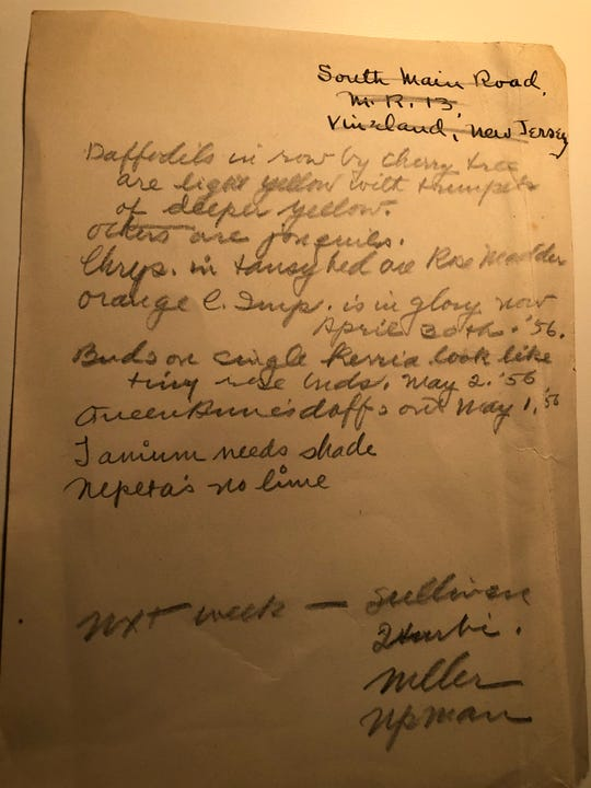 Notes found at the former Lamb home in Vineland preserve a keen gardener's observations of the South Main Road garden.